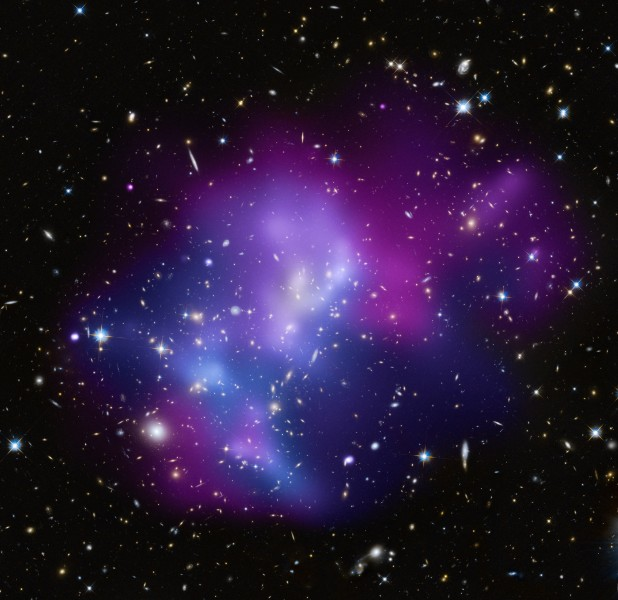 Cosmic Heavyweights in Free-For-All- One of the most complex galaxy clusters, located about 5.4 billion light years from Earth.