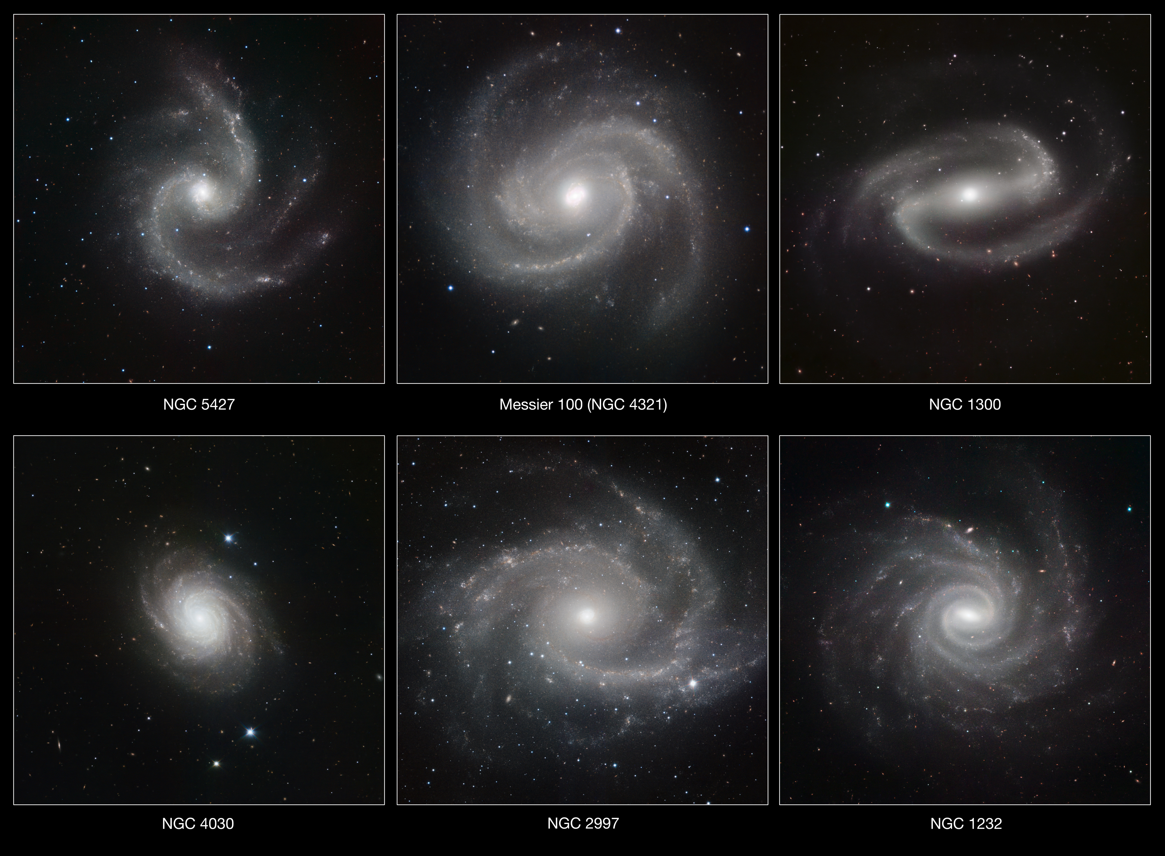 Six Spiral Galaxies ESO (Annotated)