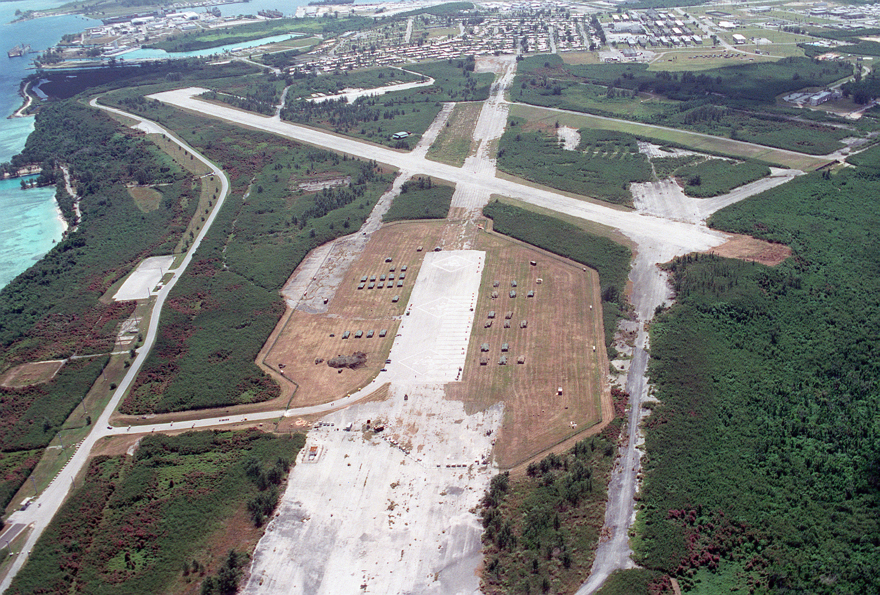 Orote Peninsula old airfield Guam aerial 1999
