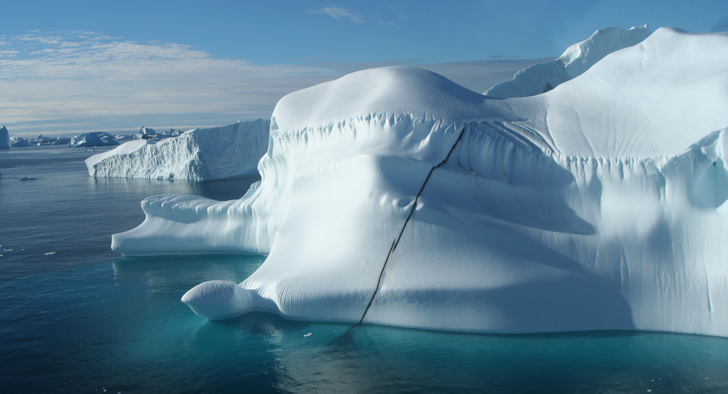 Close up of iceberg at cape York taken from helicopter