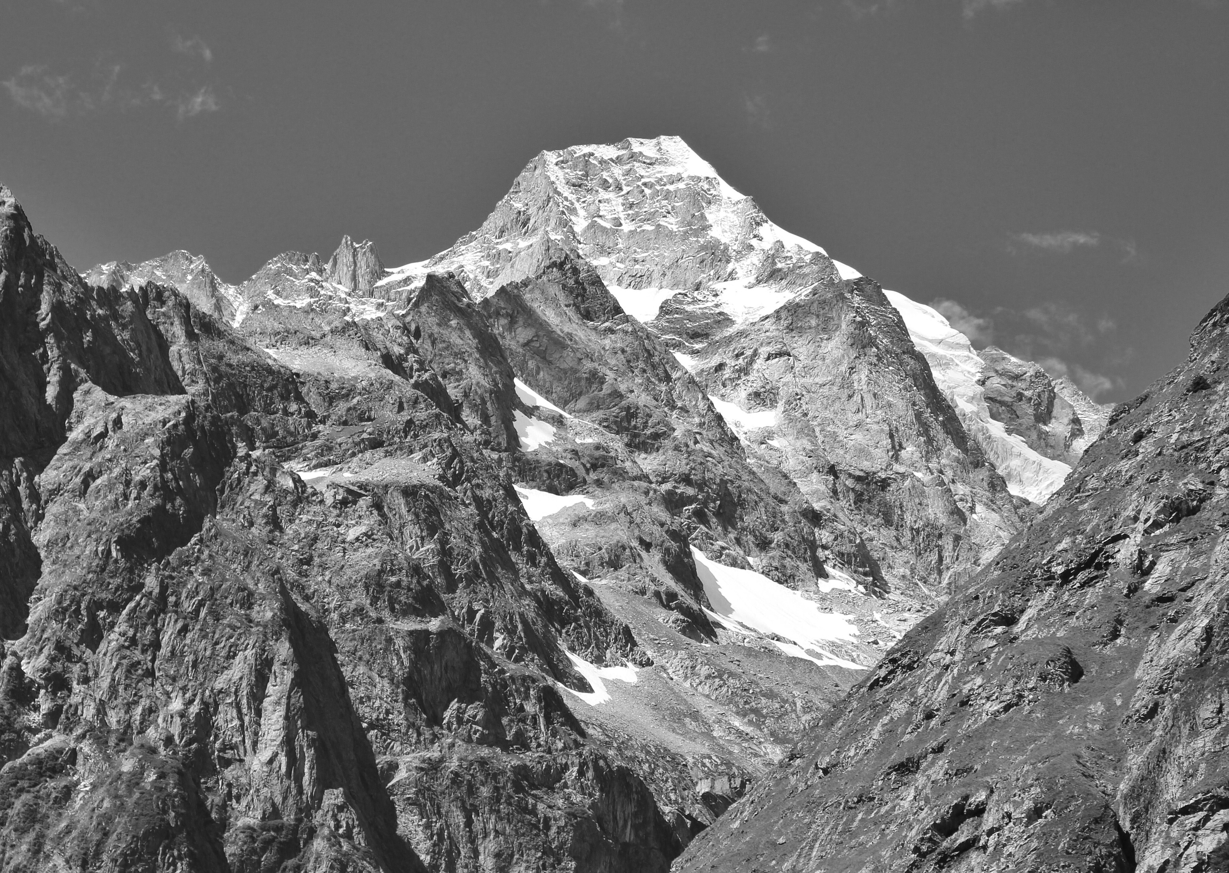 Mont Dolent from Swiss Val Ferret, 2010 August, bw 2