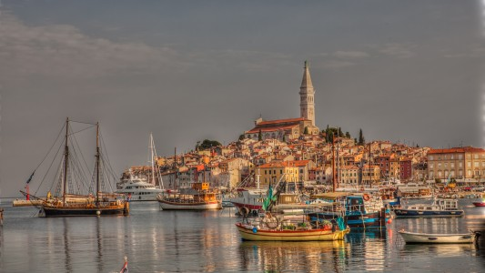 Cityscape Rovinj at sunrise