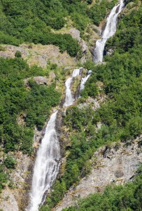 a waterfall falling into a branch of the Sognefjord, Norway, near Flåm, June 2014, picture 100