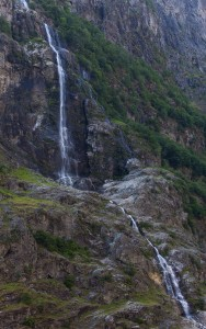 a waterfall falling into a branch of the Sognefjord, Norway, near Flåm, June 2014, picture 102