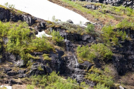 a waterfall in Norway seen from a Flåm line train open window, near Flåm, June 2014, picture 47
