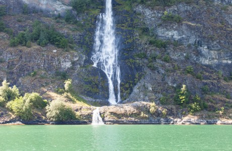a waterfall falling into a branch of the Sognefjord, Norway, near Flåm, June 2014, picture 64
