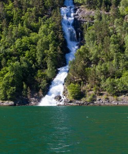 a waterfall falling into a branch of the Sognefjord, Norway, near Flåm, June 2014, picture 80