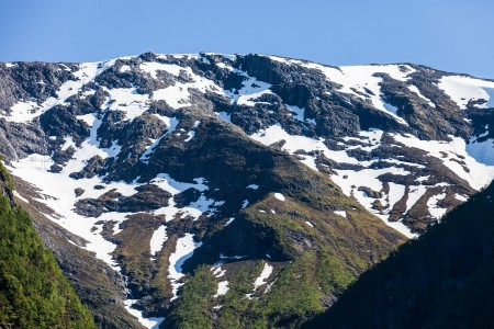 snow-covered mountains around a branch of the Sognefjord, Norway, near Flåm, June 2014, picture 82