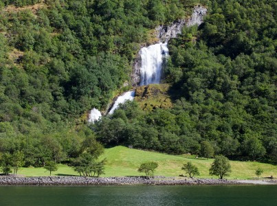 a waterfall falling into a branch of the Sognefjord, Norway, near Flåm, June 2014, picture 93