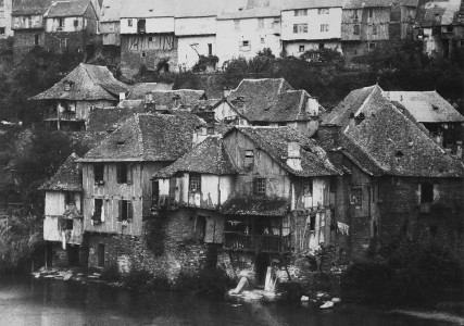 Village by waterfront by Gustave Le Gray