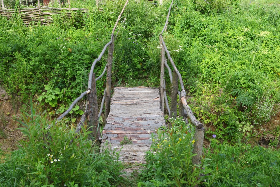 a small wooden bridge, Lviv region, Ukraine
