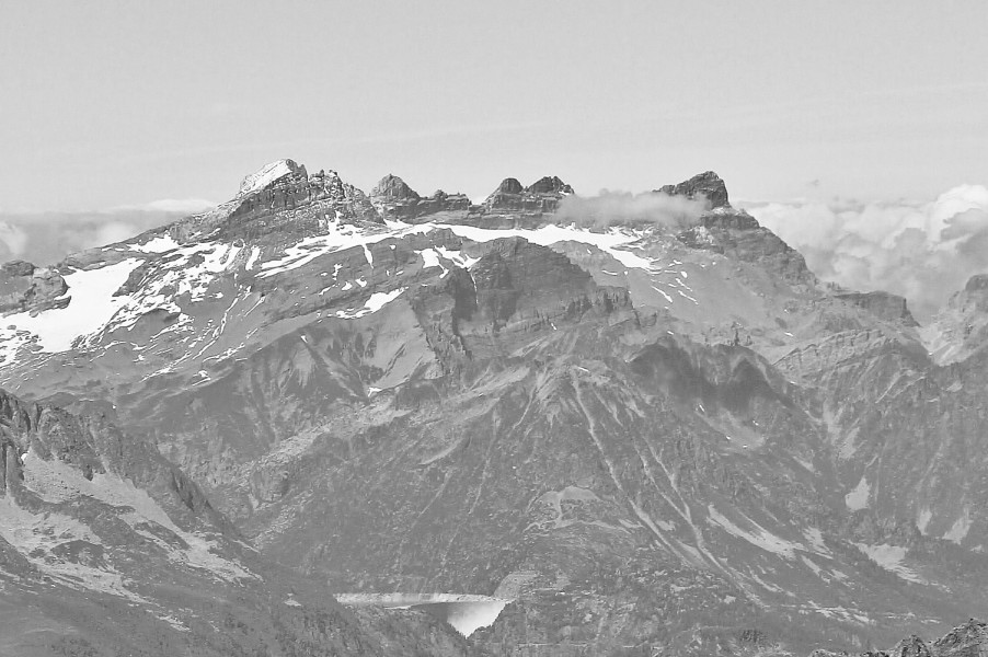 Dents du Midi from Punta Helbronner, 2010 July 2, bw