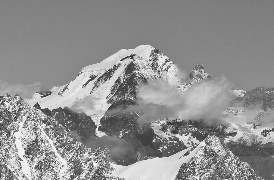 Grand Combin from Aiguille du Midi, 2010 July, bw