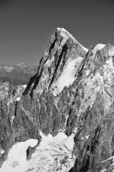 Grandes Jorasses from Aiguille du Midi, 2010 July, bw