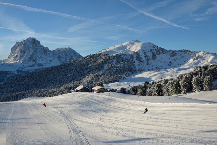 Groomed skirun from Seceda Val Gardena