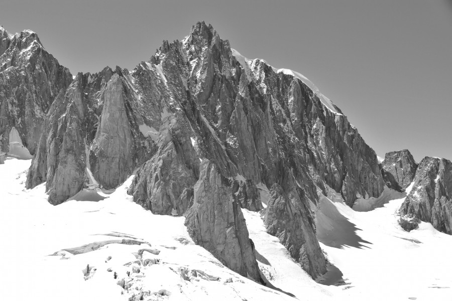 Mont Blanc du Tacul east face, 2010 July, bw