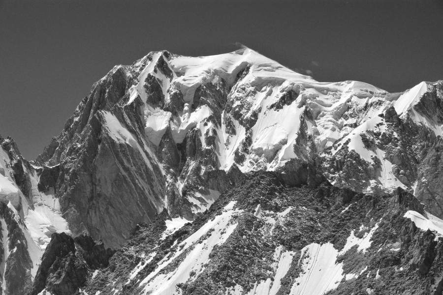 Mont Blanc from Punta Helbronner, 2010 July, bw