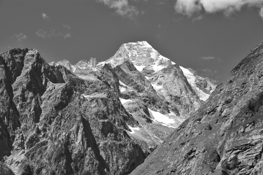 Mont Dolent from Swiss Val Ferret, 2010 August, bw