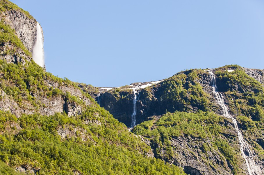 waterfalls falling into a branch of the Sognefjord, Norway, near Flåm, June 2014, picture 103