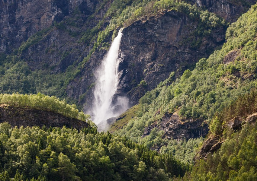 a waterfall in Norway seen from a Flåm line train open window, near Flåm, June 2014, picture 16