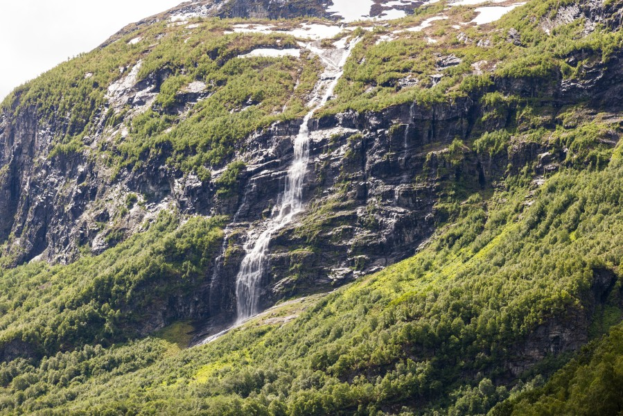 a waterfall in Norway seen from a Flåm line train open window, near Flåm, June 2014, picture 19