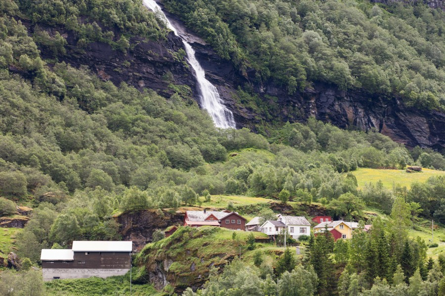 a waterfall in Norway seen from a Flåm line train open window, near Flåm, June 2014, picture 20