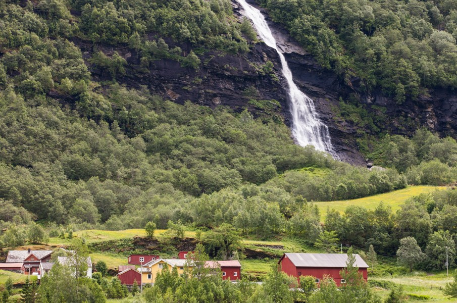 a waterfall in Norway seen from a Flåm line train open window, near Flåm, June 2014, picture 22