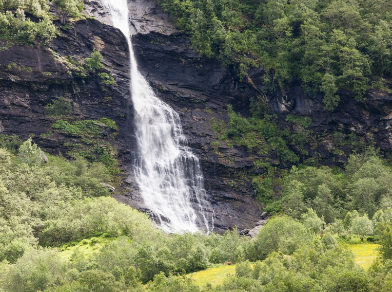 a waterfall in Norway seen from a Flåm line train open window, near Flåm, June 2014, picture 23