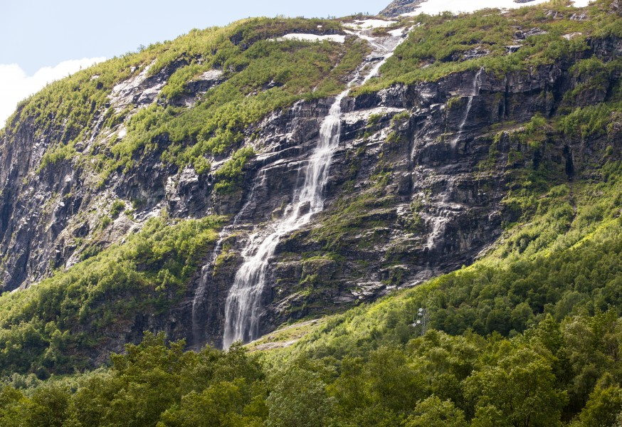 a waterfall in Norway seen from a Flåm line train open window, near Flåm, June 2014, picture 24