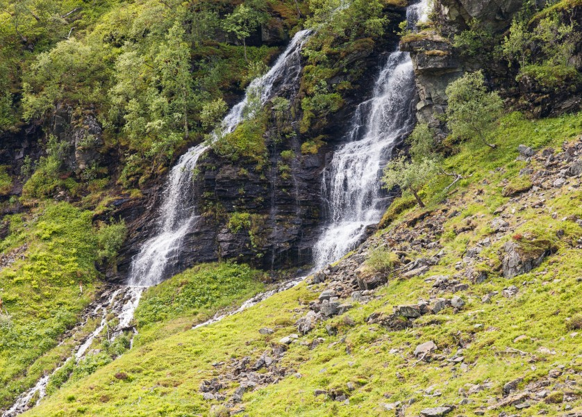waterfalls in Norway seen from a Flåm line train open window, near Flåm, June 2014, picture 28