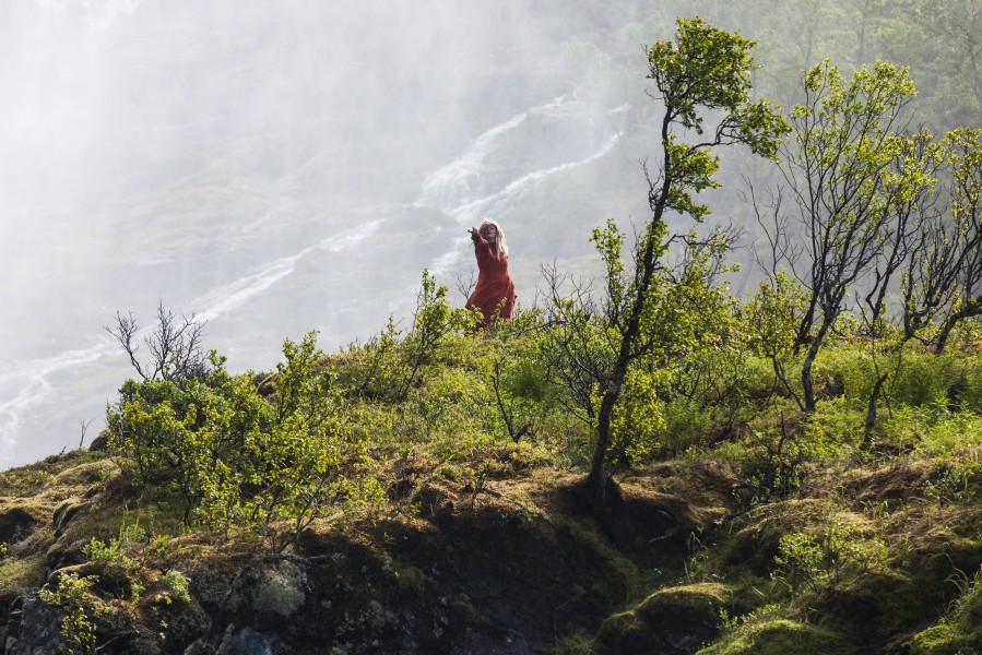 a so-called Huldra dancing near Kjosfossen waterfall, near Flåm, Norway, June 2014, picture 34