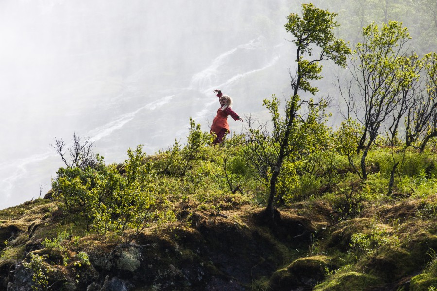 a so-called Huldra dancing near Kjosfossen waterfall, near Flåm, Norway, June 2014, picture 35