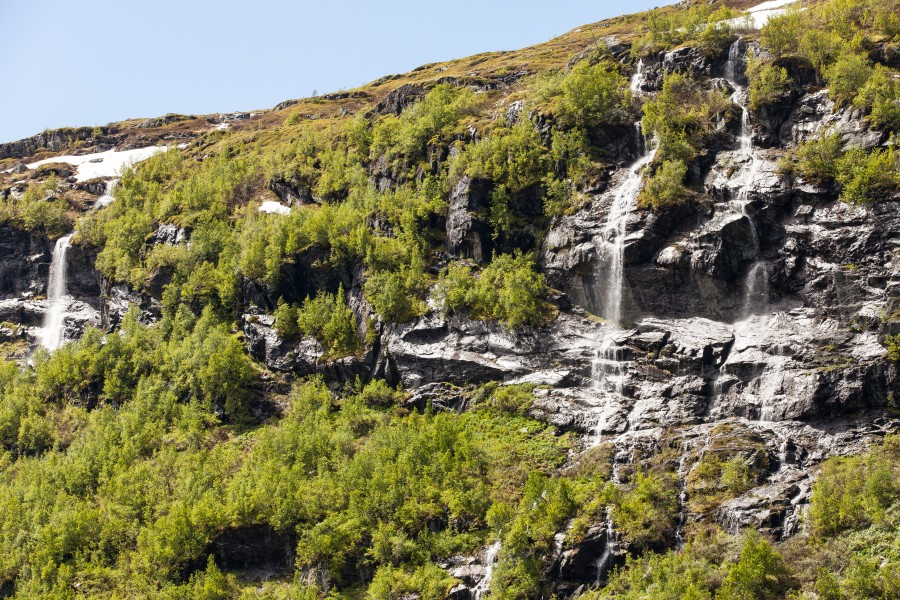 waterfalls in Norway seen from a Flåm line train open window, near Flåm, June 2014, picture 48