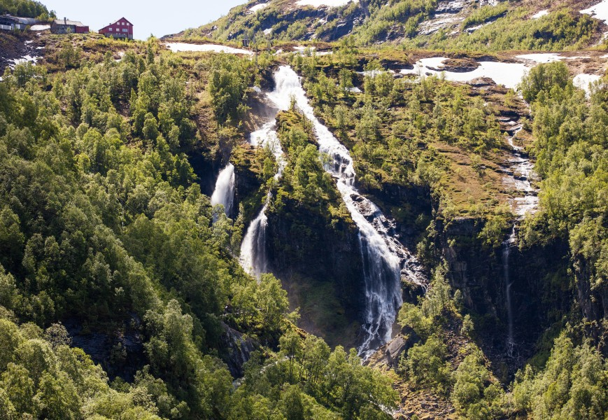 a waterfall in Norway seen from a Flåm line train open window, near Flåm, June 2014, picture 51