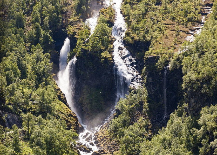 a waterfall in Norway seen from a Flåm line train open window, near Flåm, June 2014, picture 52