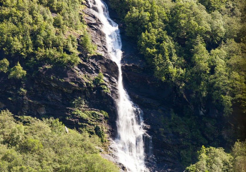 a waterfall in Norway seen from a Flåm line train open window, near Flåm, June 2014, picture 53
