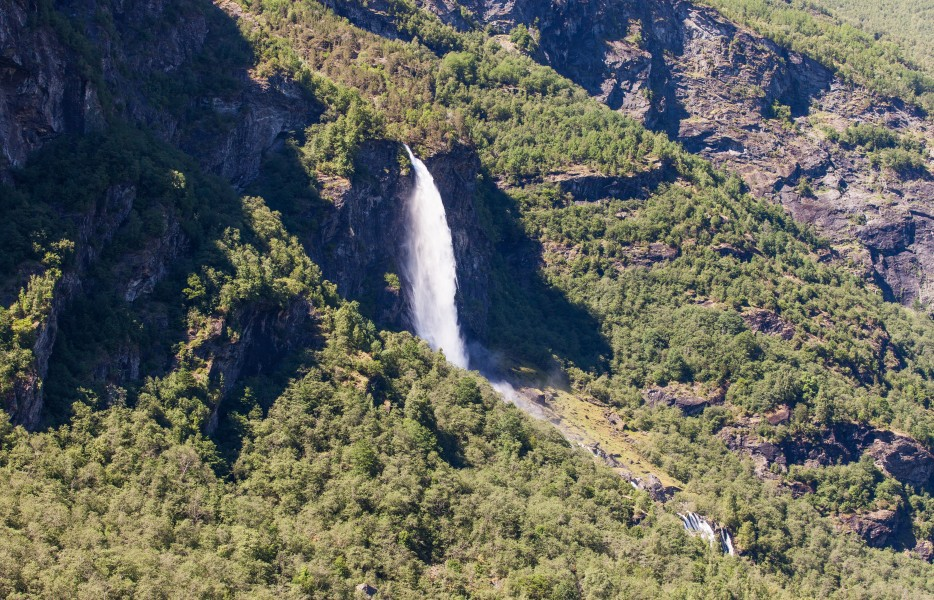 a waterfall in Norway seen from a Flåm line train open window, near Flåm, June 2014, picture 54