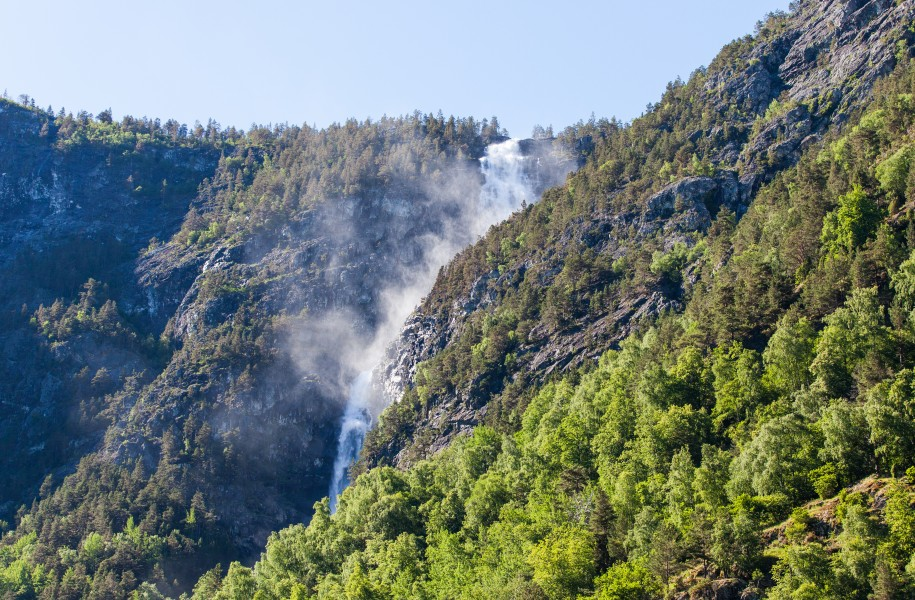 a waterfall falling into a branch of the Sognefjord, Norway, near Flåm, June 2014, picture 77