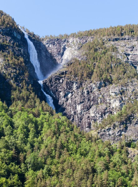 a waterfall falling into a branch of the Sognefjord, Norway, near Flåm, June 2014, picture 81