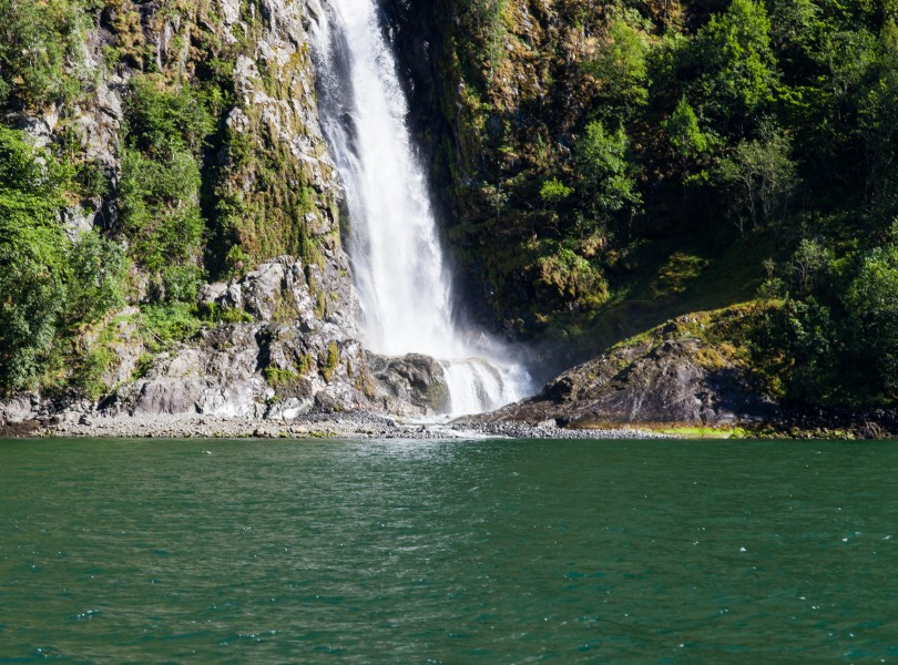 a waterfall falling into a branch of the Sognefjord, Norway, near Flåm, June 2014, picture 87