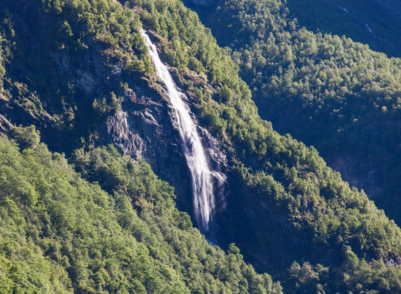 a waterfall falling into a branch of the Sognefjord, Norway, near Flåm, June 2014, picture 89