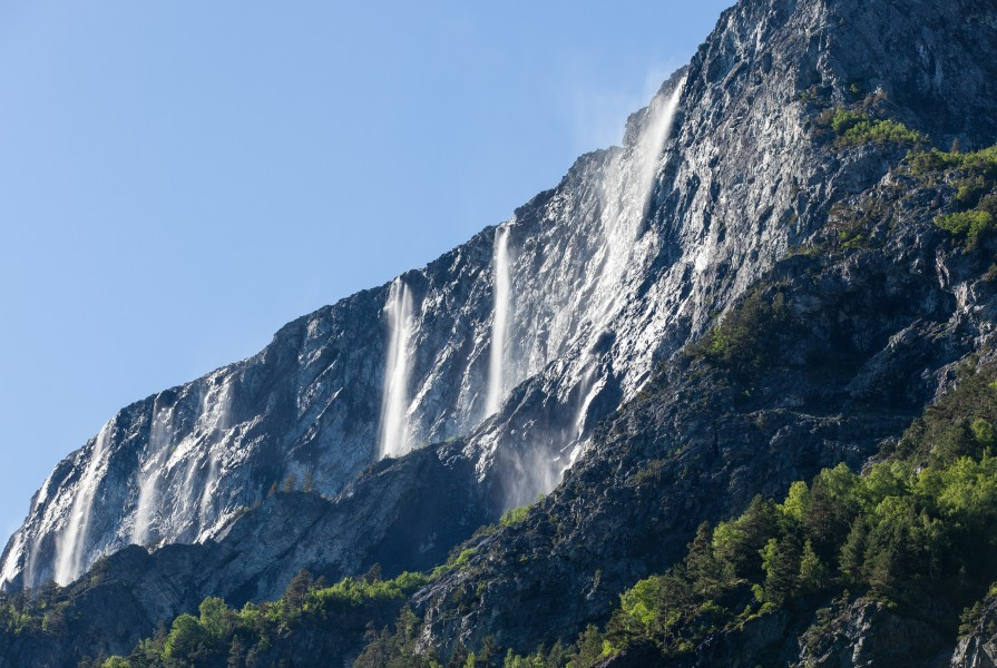 waterfalls falling into a branch of the Sognefjord, Norway, near Flåm, June 2014, picture 92