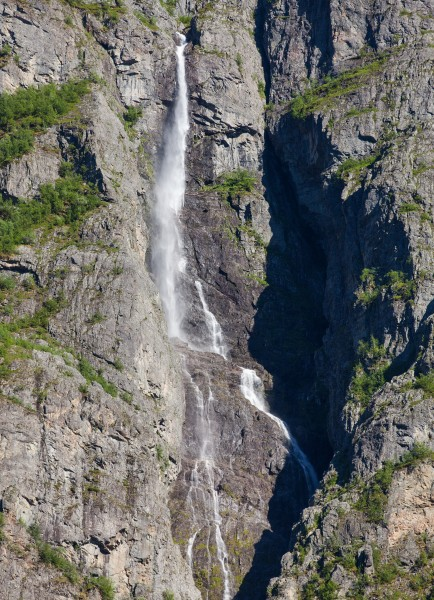 a waterfall falling into a branch of the Sognefjord, Norway, near Flåm, June 2014, picture 99