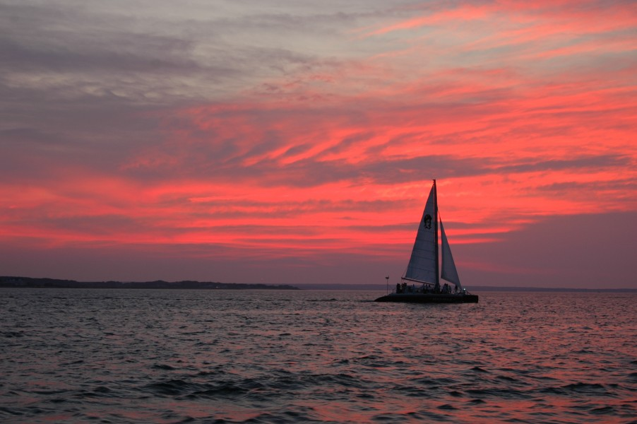 Red Sunset & Sailboat