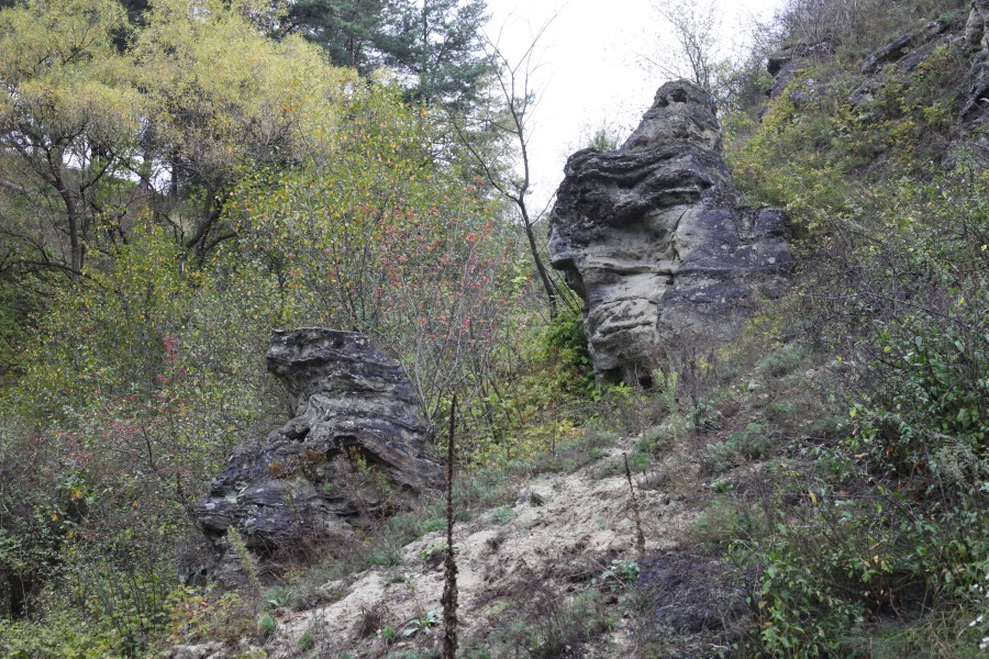 a rocky landscape in Lviv region of Ukraine