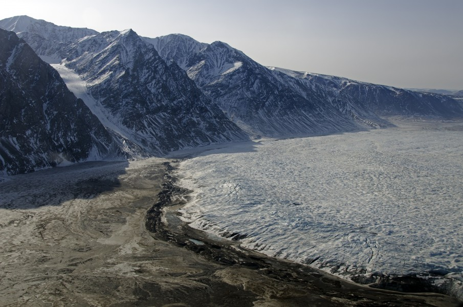 Terminus of Wordie Glacier in northeast Greenland with small terminal moraine