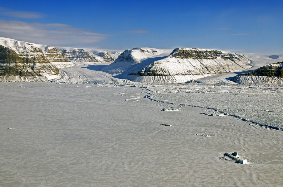 The calving front of Petermann Glacier in northern Greenland