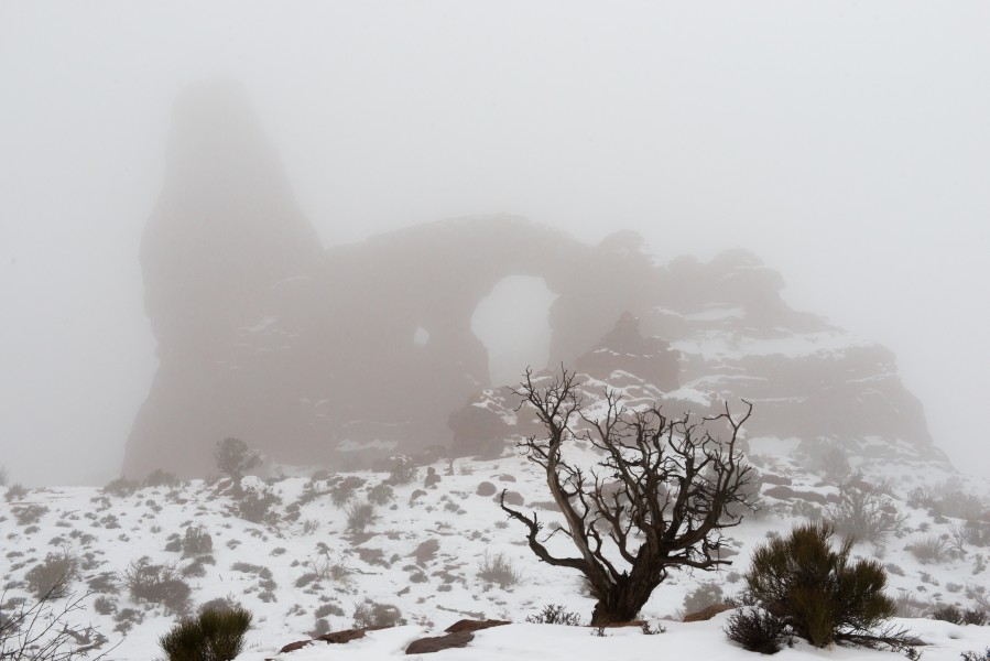 Turret Arch, obscured by fog. (8421738634)