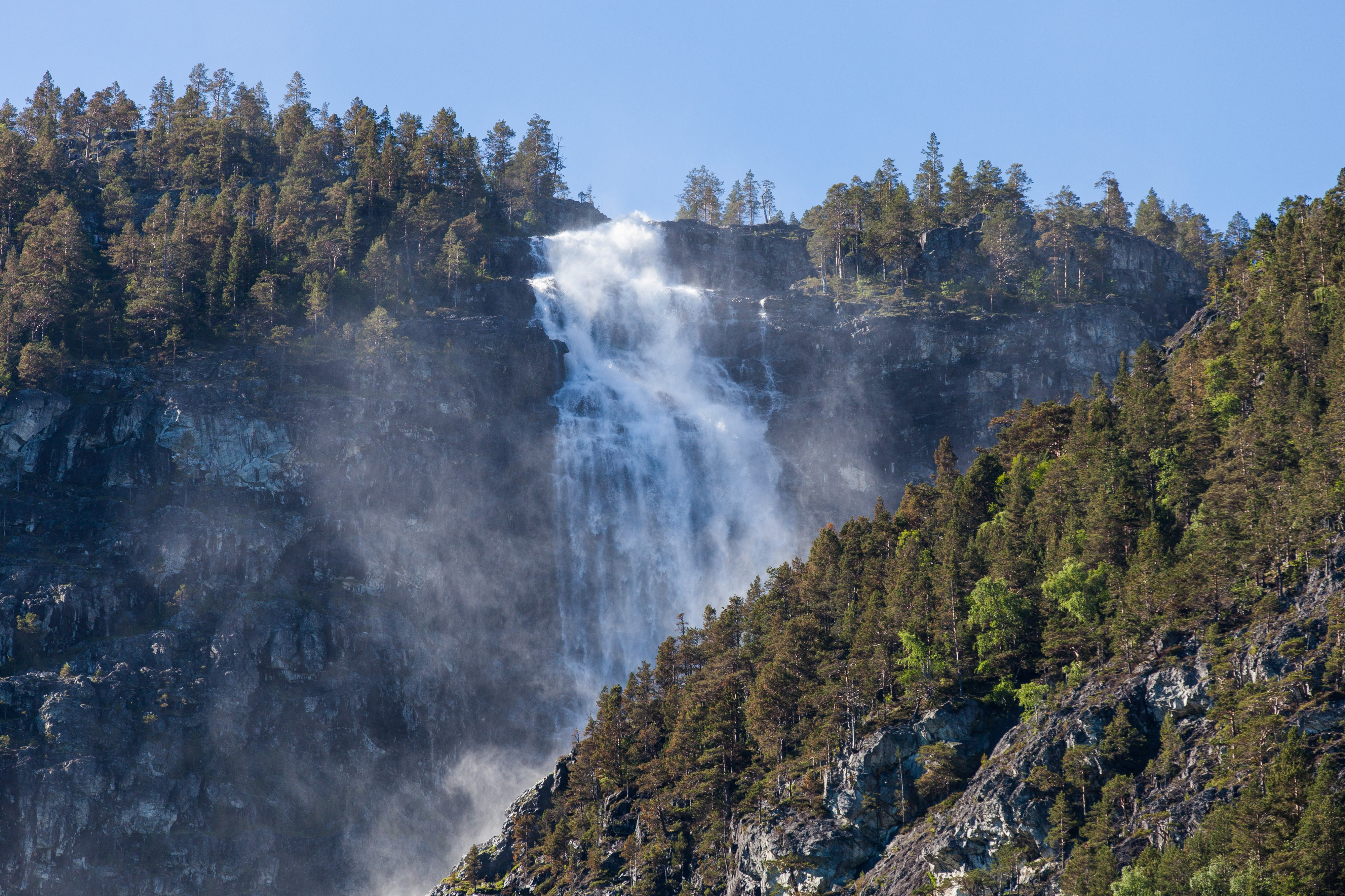 a waterfall falling into a branch of the Sognefjord, Norway, near Flåm, June 2014, picture 78