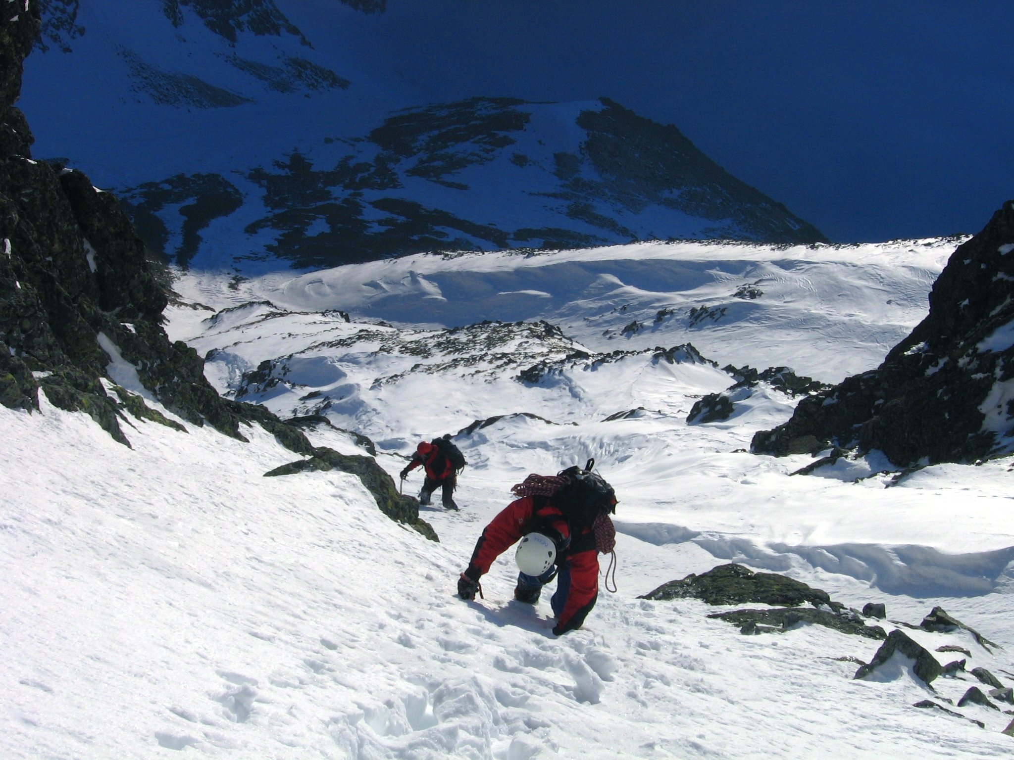 Mountaineers in High Tatry mountains winter